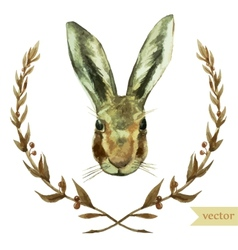 wreath rabbit watercolor hare vector image vector image