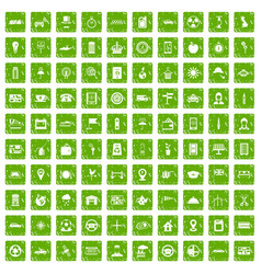 100 taxi icons set grunge green vector image