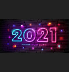 2021 happy new year neon lightcolorful bulb light vector