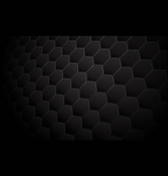 abstract black hexagon and gold line geometric vector image