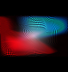 abstract red blue circle mesh wave light on black vector image