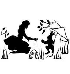 Alice and white rabbit drawing ink vector