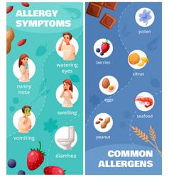 Allergy vertical banners set vector