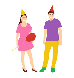 Animators in holiday caps woman with a man vector