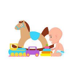 Baby and toys variety poster vector