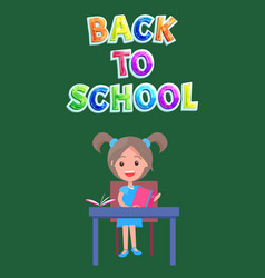 back to school postcard or flyer with schoolgirl vector image