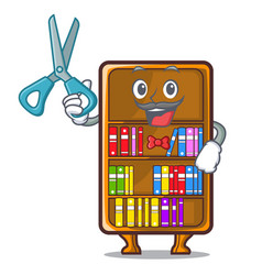 Barber mascot bookcase beside the study desk vector