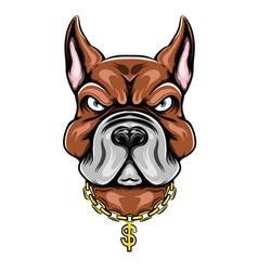 Big head pit bull with big ears vector