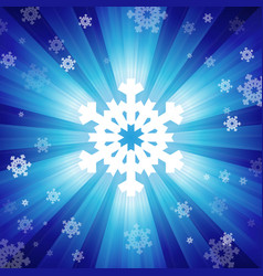 Blue color burst of light with snowflakes vector image