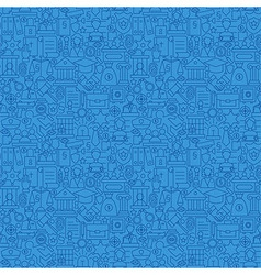 Blue Thin Line Law and Justice Seamless Pattern vector
