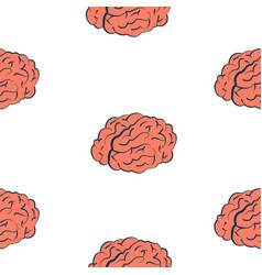 brains on white seamless pattern vector image