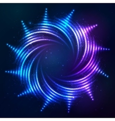 Bright shining blue neon spiral sun at dark cosmic vector