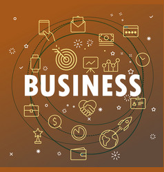 Business concept different thin line icons vector