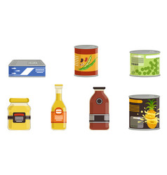 Canned food collection preserved goods in sealed vector