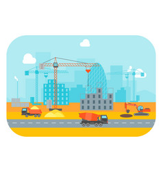 cartoon construction building vector image