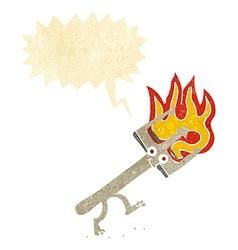 Cartoon devil fork with speech bubble vector