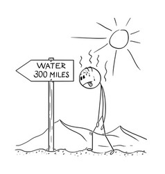 Cartoon of man walking thirsty through desert and vector