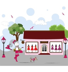 Cartoon of Woman window shopping with dog vector image