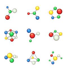 chemistry formula icons set cartoon style vector image
