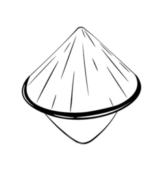 Chinese conical straw hat isolated on white vector