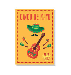 cinco de mayo party and celebration banner and vector image