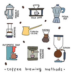 Coffee brewing methods vector