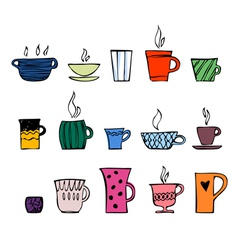 color cups tea or coffee vector image