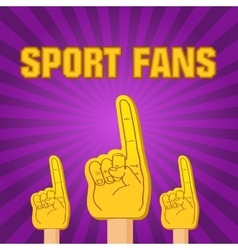 Color sport fans foam fingers on retro vector