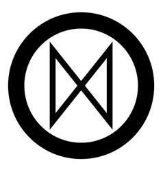Dagaz rune dawn day symbol icon black color in vector