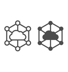 Data cloud line and glyph icon computer storage vector