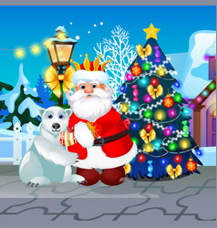 decorated christmas tree lamppost animated santa vector image