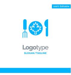 Dinner autumn canada leaf blue solid logo vector