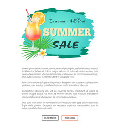 Discount summer sale web banner with cocktail vector