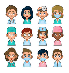 doctor and medical nurse avatar sign set cute vector image