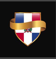 Dominican republic flag golden badge design vector