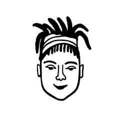 Doodle sketch girl with dreadlocks vector