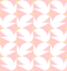 dove holding star flat style seamless pattern vector image