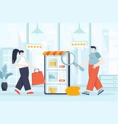 e-commerce concept in flat design vector image