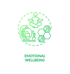 Emotional wellbeing green concept icon vector