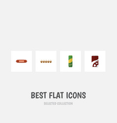 flat icon eating set of fizzy drink eggshell box vector image