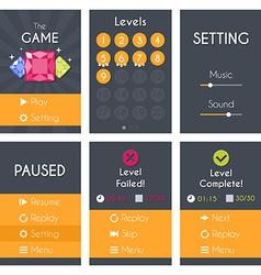 Flat mobile game screens set vector