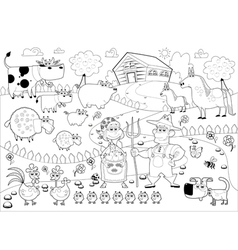 Funny farm family in black and white vector