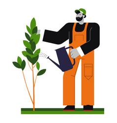 Gardener watering tree gardening and planting vector
