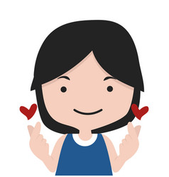 girl making mini heart symbol vector image