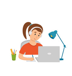 Girl studying online education at home cartoon vector