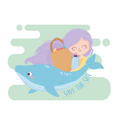 Girl whale and shopping bag save sea vector