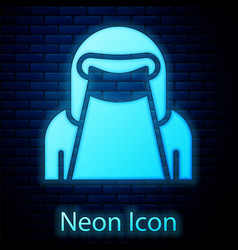 Glowing neon muslim woman in niqab icon isolated vector