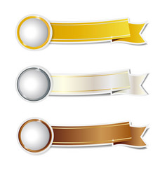 Golden silver and bronze ribbons banner vector