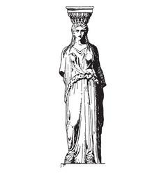 Greek caryatid a female figure vintage engraving vector