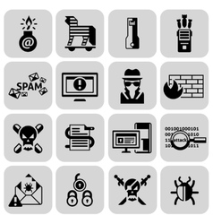 Hacker icons set black vector image
